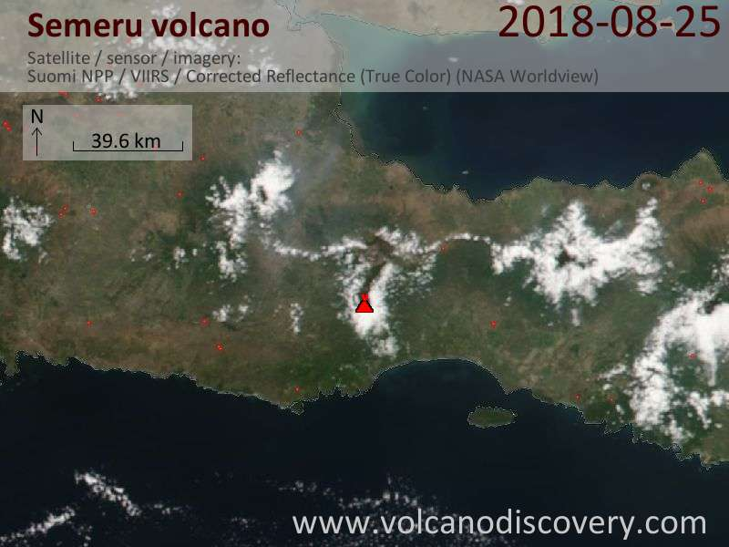 Satellite image of Semeru volcano on 25 Aug 2018
