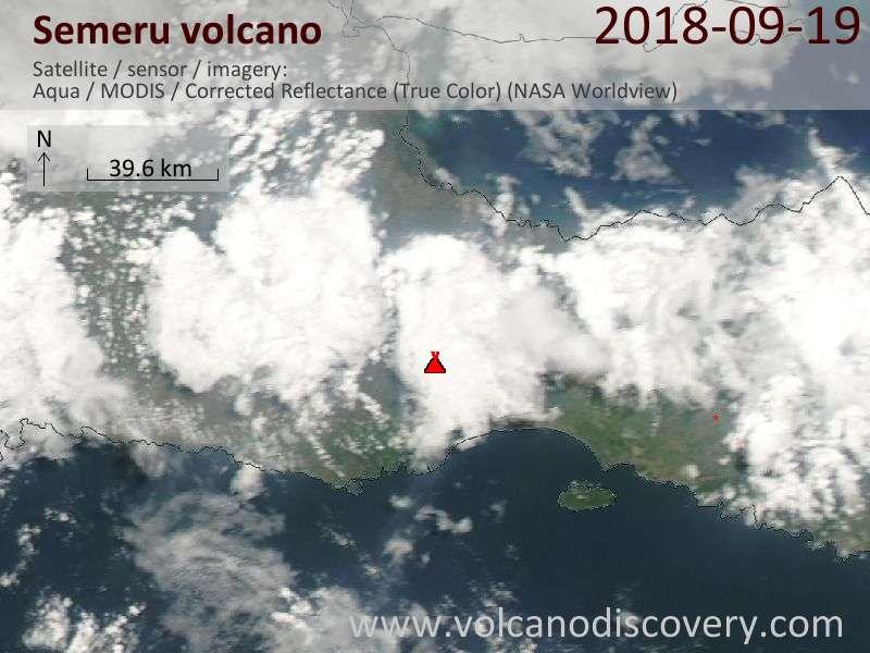 Satellite image of Semeru volcano on 19 Sep 2018