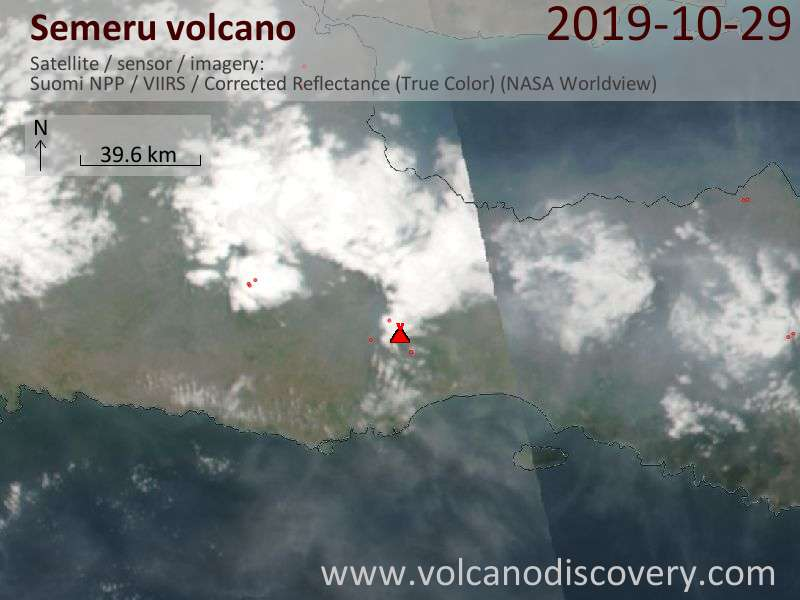 Satellite image of Semeru volcano on 29 Oct 2019
