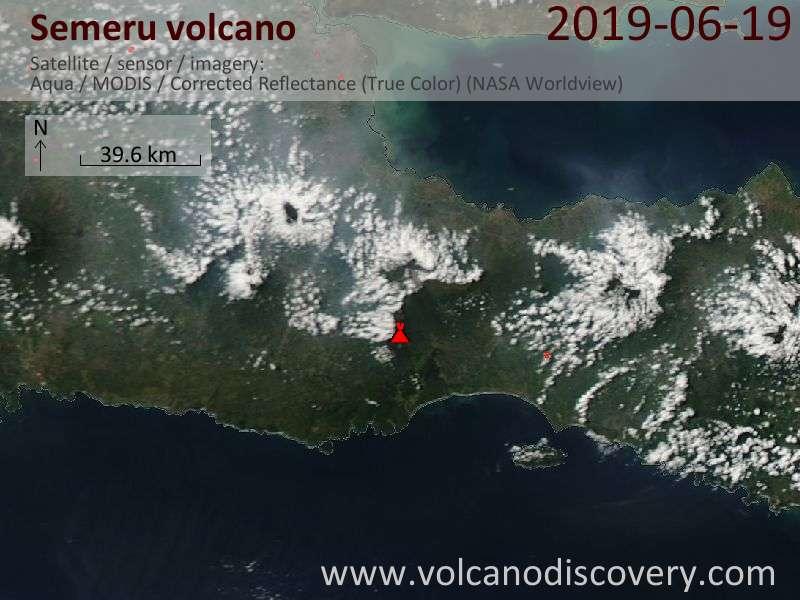 Satellite image of Semeru volcano on 19 Jun 2019