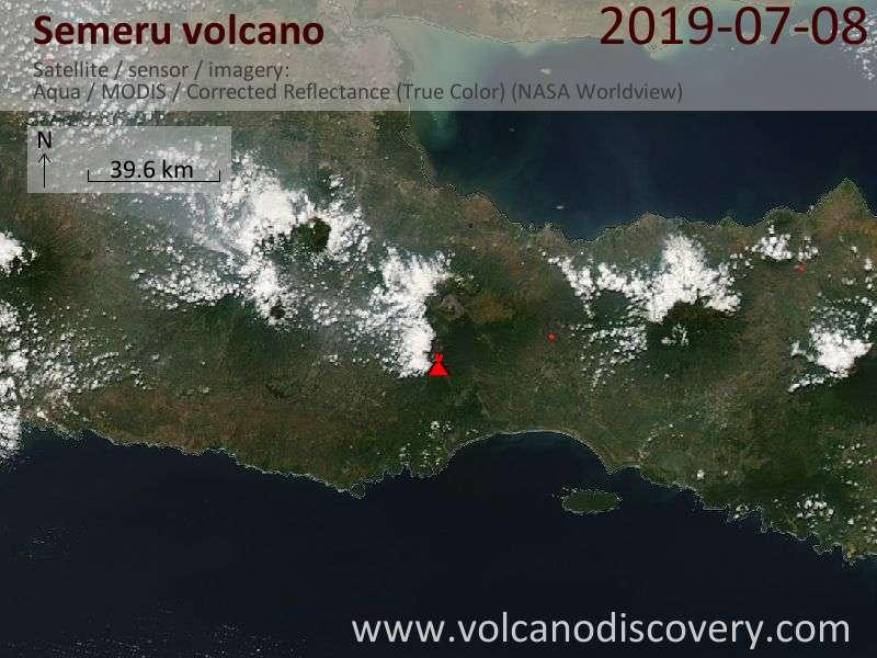 Satellite image of Semeru volcano on  8 Jul 2019