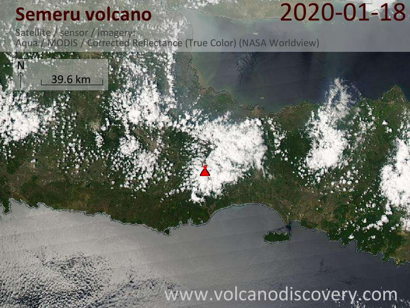 Satellitenbild des Semeru Vulkans am 18 Jan 2020