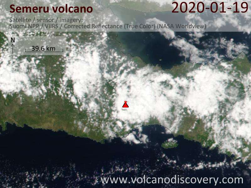 Satellitenbild des Semeru Vulkans am 20 Jan 2020