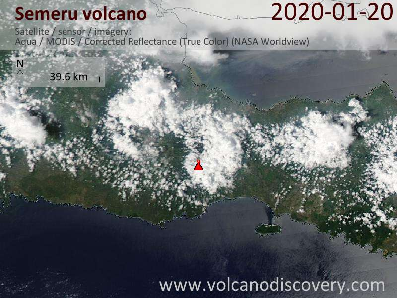 Satellite image of Semeru volcano on 21 Jan 2020