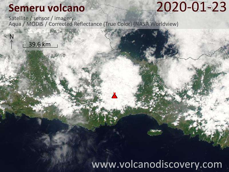 Satellitenbild des Semeru Vulkans am 23 Jan 2020