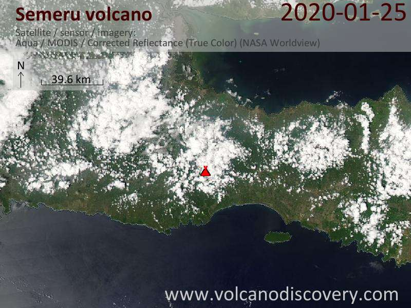 Satellitenbild des Semeru Vulkans am 25 Jan 2020