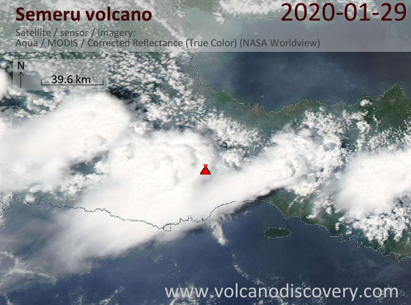 Satellitenbild des Semeru Vulkans am 30 Jan 2020
