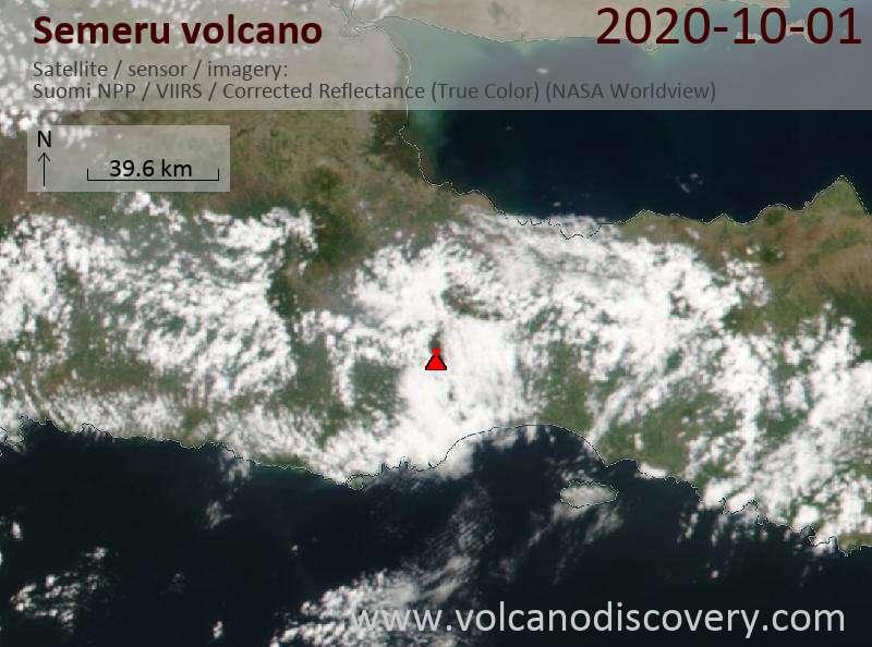 Спутниковое изображение вулкана Semeru  1 Oct 2020