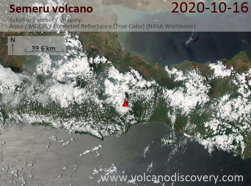 Satellite image of Semeru volcano on 16 Oct 2020