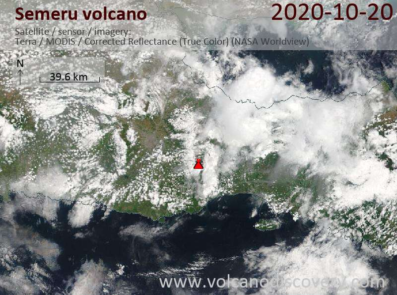 Satellite image of Semeru volcano on 20 Oct 2020