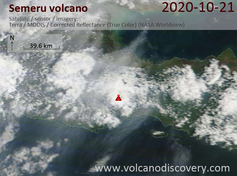 Satellite image of Semeru volcano on 21 Oct 2020