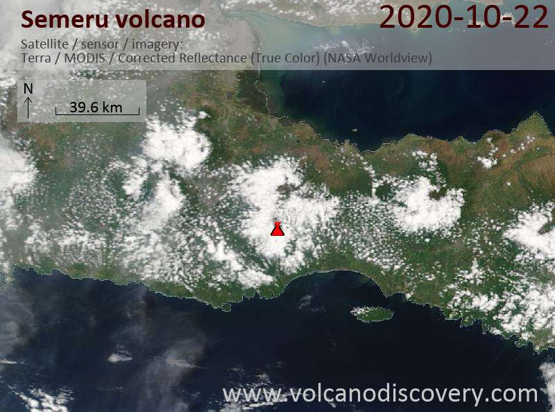 Satellite image of Semeru volcano on 22 Oct 2020