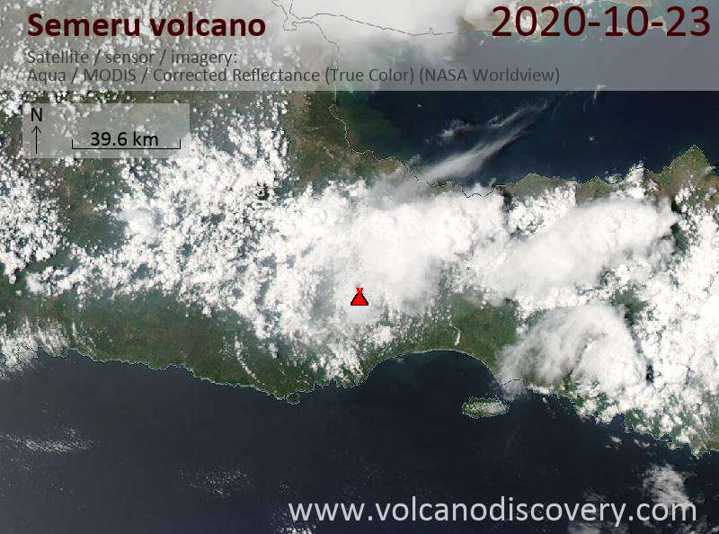Satellite image of Semeru volcano on 23 Oct 2020
