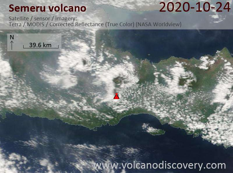 Satellite image of Semeru volcano on 24 Oct 2020