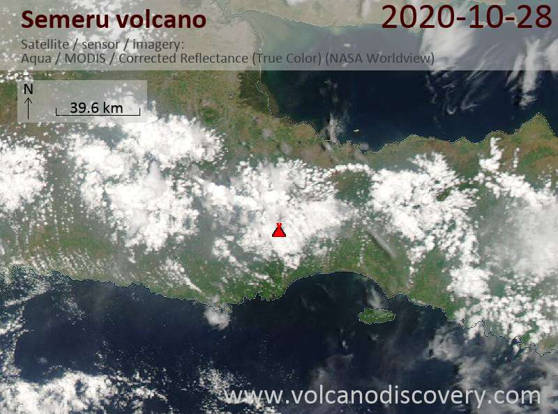 Satellite image of Semeru volcano on 28 Oct 2020