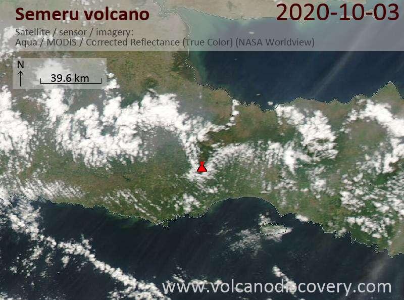 Satellite image of Semeru volcano on  3 Oct 2020