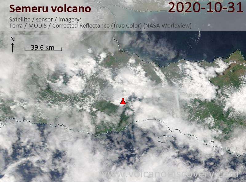 Satellite image of Semeru volcano on 31 Oct 2020