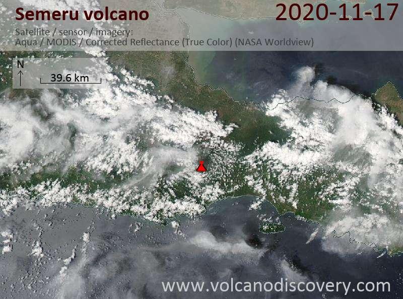 Satellitenbild des Semeru Vulkans am 18 Nov 2020