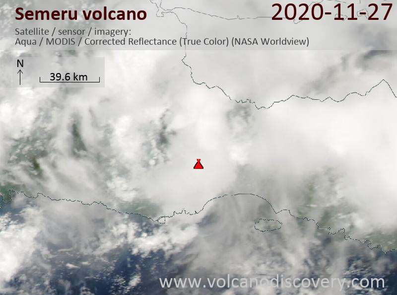 Satellite image of Semeru volcano on 27 Nov 2020