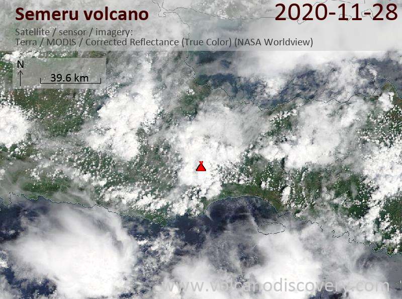 Satellite image of Semeru volcano on 28 Nov 2020