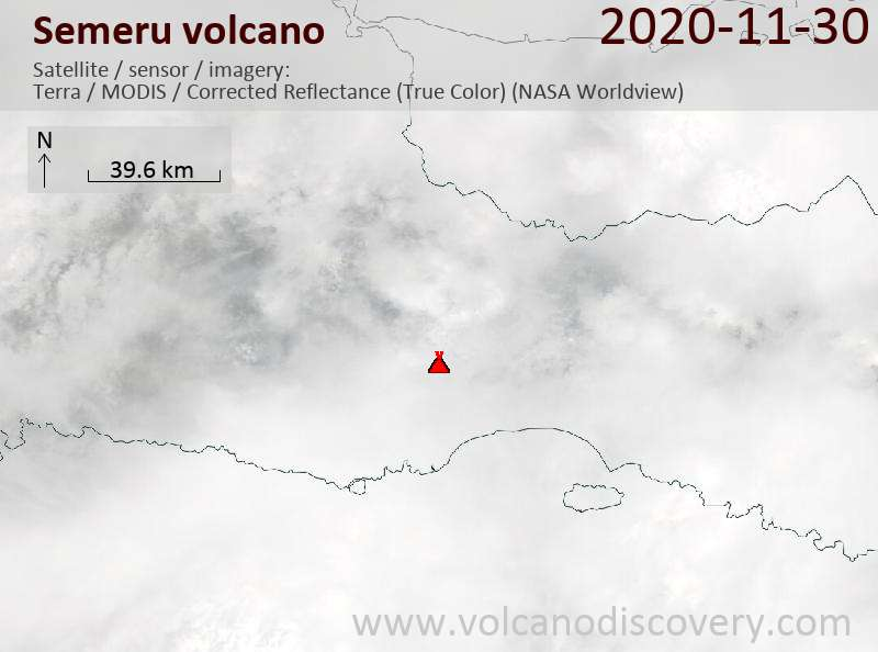 Satellite image of Semeru volcano on 30 Nov 2020