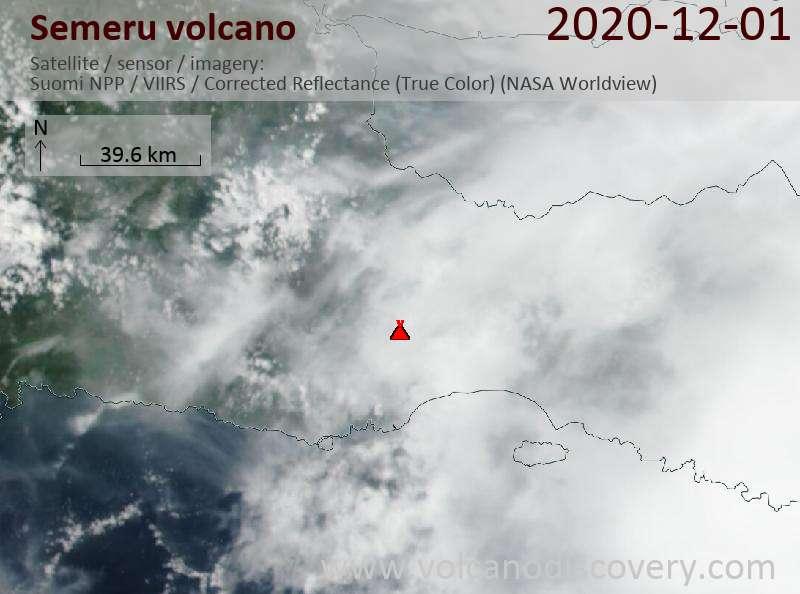 Спутниковое изображение вулкана Semeru  1 Dec 2020