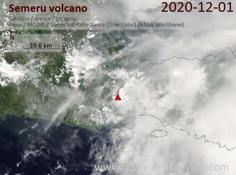 Спутниковое изображение вулкана Semeru  2 Dec 2020