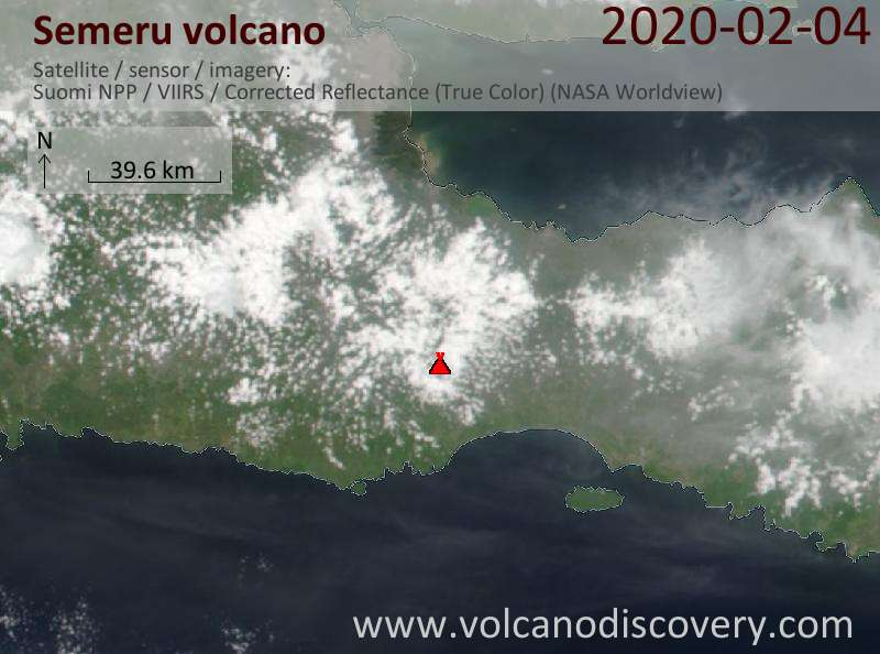 Satellitenbild des Semeru Vulkans am  5 Feb 2020