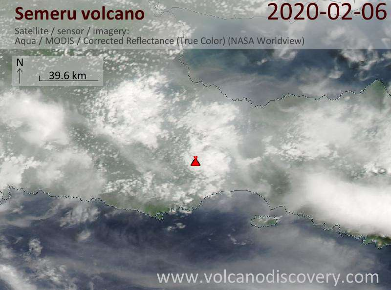 Satellitenbild des Semeru Vulkans am  6 Feb 2020