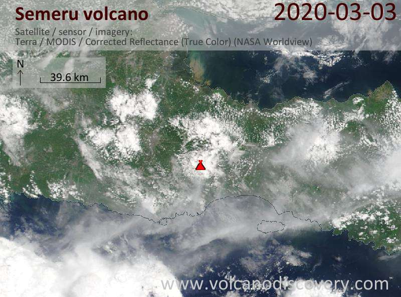Satellite image of Semeru volcano on  3 Mar 2020