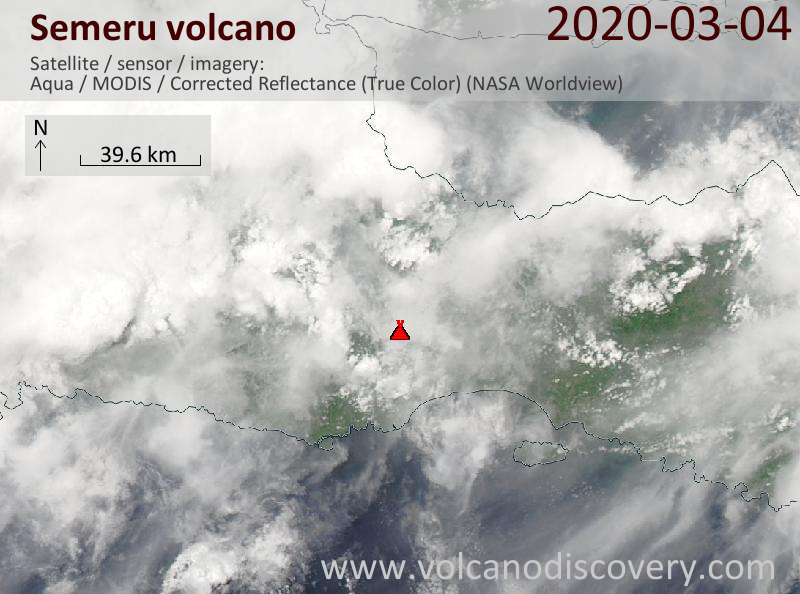 Satellite image of Semeru volcano on  5 Mar 2020