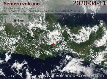 Satellite image of Semeru volcano on 11 Apr 2020