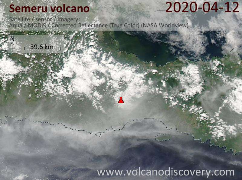 Satellitenbild des Semeru Vulkans am 12 Apr 2020
