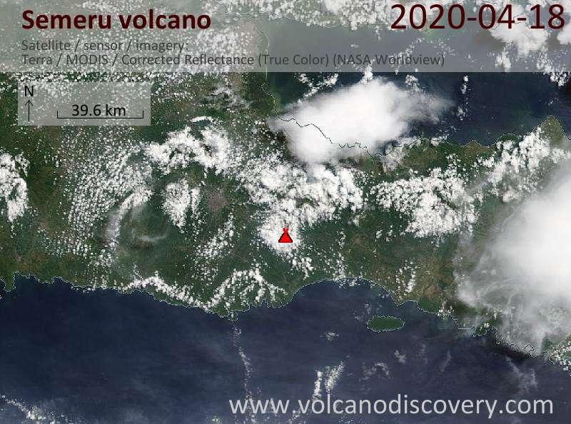 Satellitenbild des Semeru Vulkans am 18 Apr 2020