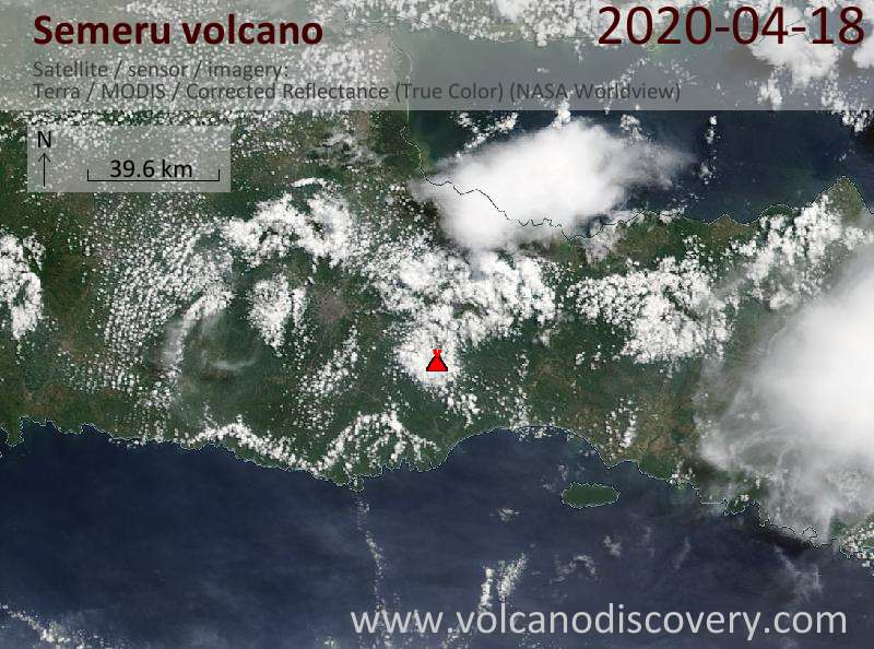 Satellite image of Semeru volcano on 18 Apr 2020