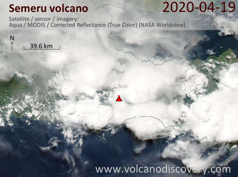 Satellite image of Semeru volcano on 19 Apr 2020