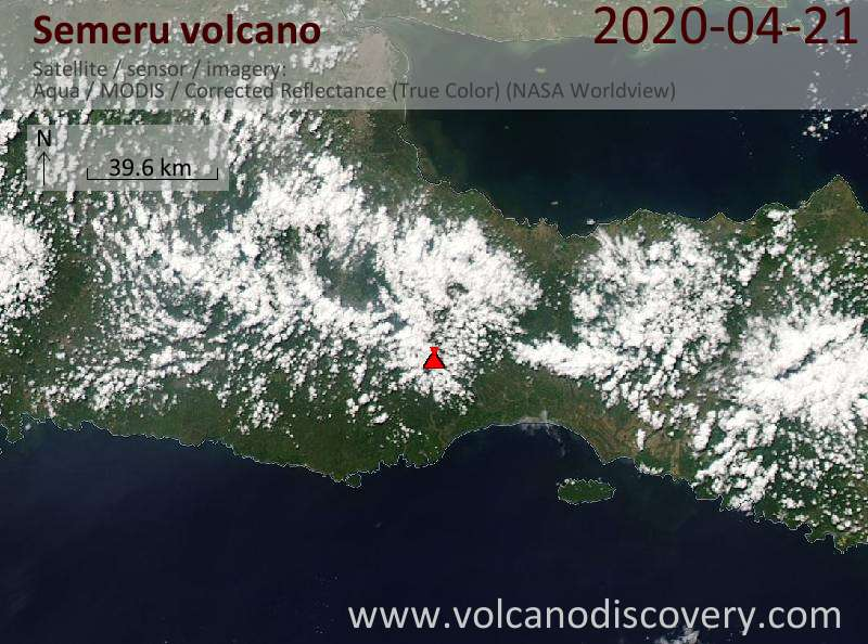 Satellite image of Semeru volcano on 22 Apr 2020