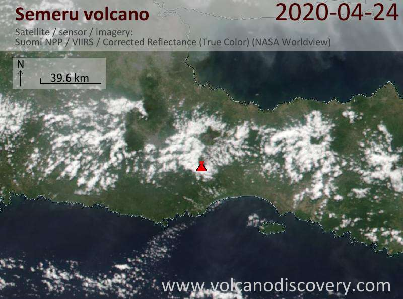 Satellitenbild des Semeru Vulkans am 25 Apr 2020