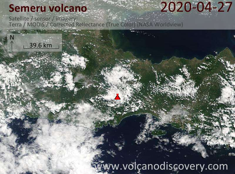 Satellitenbild des Semeru Vulkans am 27 Apr 2020