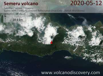 Satellite image of Semeru volcano on 13 May 2020