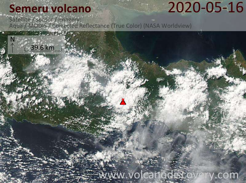 Satellitenbild des Semeru Vulkans am 16 May 2020