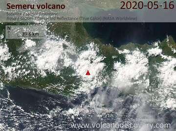 Satellite image of Semeru volcano on 17 May 2020