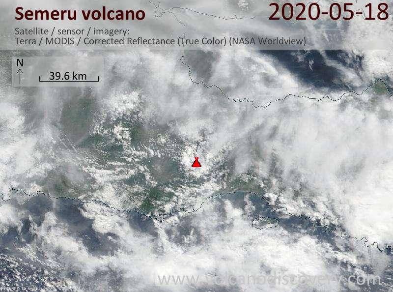 Satellitenbild des Semeru Vulkans am 18 May 2020