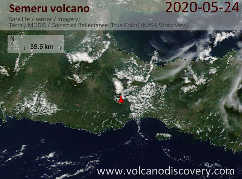 Satellitenbild des Semeru Vulkans am 24 May 2020