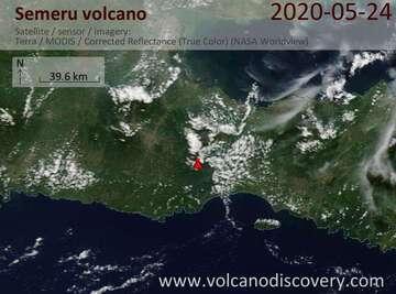 Satellite image of Semeru volcano on 24 May 2020