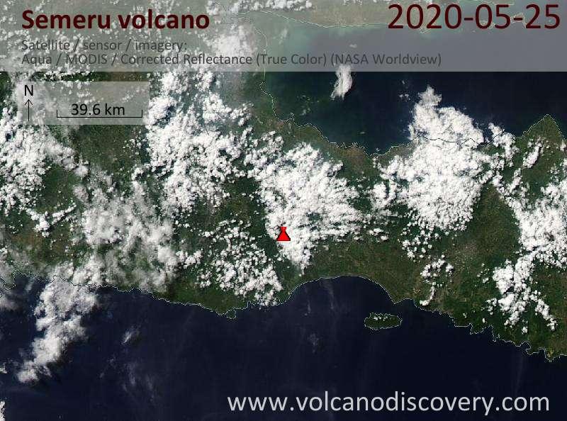 Спутниковое изображение вулкана Semeru 25 May 2020
