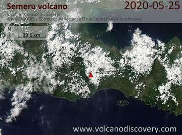 Satellite image of Semeru volcano on 25 May 2020