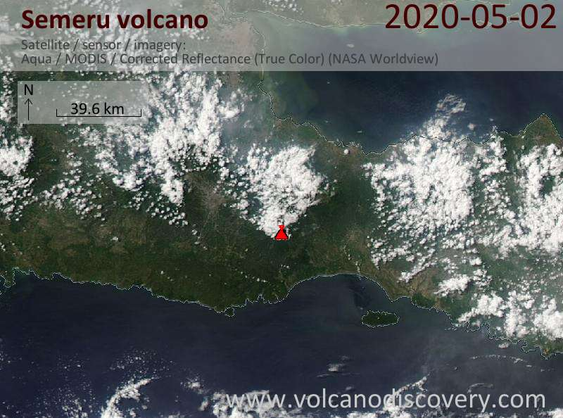 Satellitenbild des Semeru Vulkans am  3 May 2020