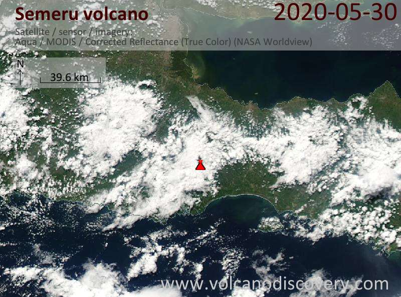 Спутниковое изображение вулкана Semeru 30 May 2020