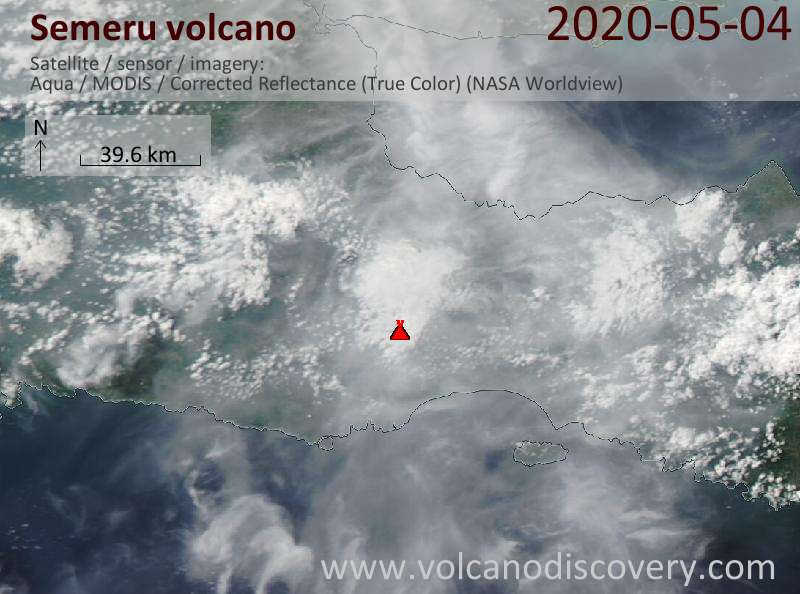 Satellitenbild des Semeru Vulkans am  5 May 2020